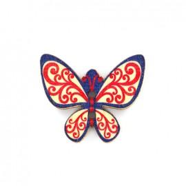 Bouton bois Minute papillon - rouge/bleu/blanc