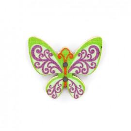 Bouton bois Minute papillon - vert/violet/bleu