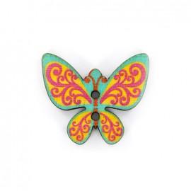 Bouton bois Minute papillon - vert/rouge/jaune