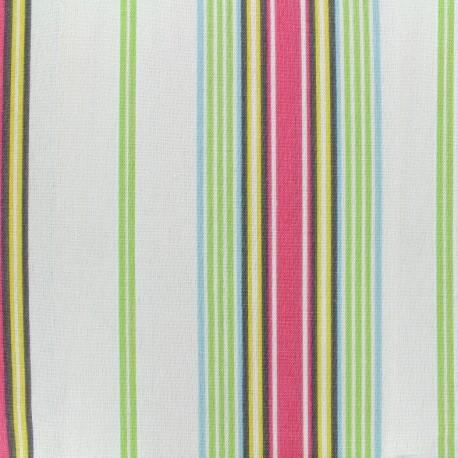 Tissu coton bachette Josas - ivoire/rose x 10cm
