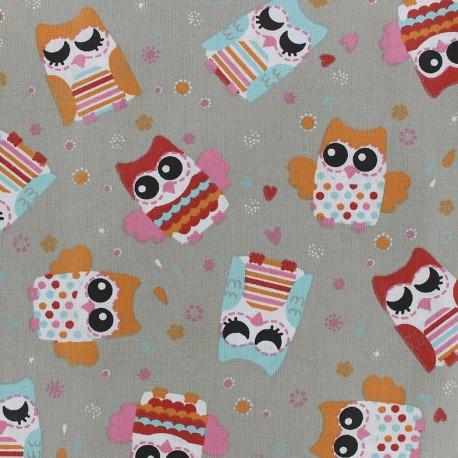 Tissu coton Gylfie - grège/rouge x 10cm