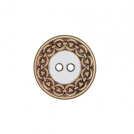 Metal button Richelieu - white