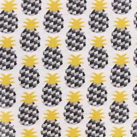 Tissu enduit coton Mini Ananas - noir/or x 10cm