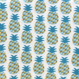 Coated cotton fabric Mini Ananas - blue x 10cm