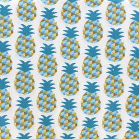 Tissu enduit coton Mini Ananas - bleu x 10cm