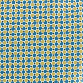 Coated cotton fabric Les pois - petrol/ochre x 10cm