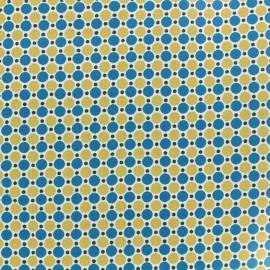 Tissu enduit coton Les pois - pétrole/ocre x 10cm