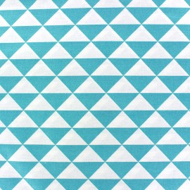 Coated cotton fabric Vintage - turquoise x 10cm