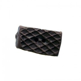 Fimo button, wafer - brown