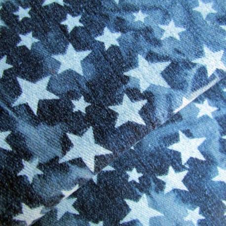 Stars Jeans Fabric - Navy x 10cm