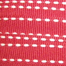 Grosgrain aspect white stitched-edge ribbon - red