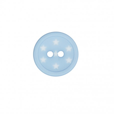 Bouton polyester Ciel étoilé - bleu dragée