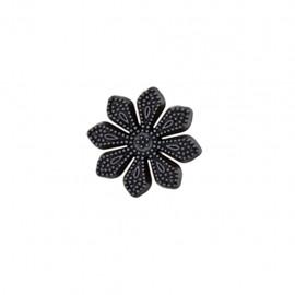Bouton métal Margueurite royale - noir