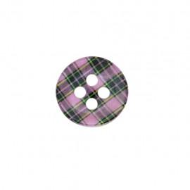 Polyester Button Joli tartan - pink