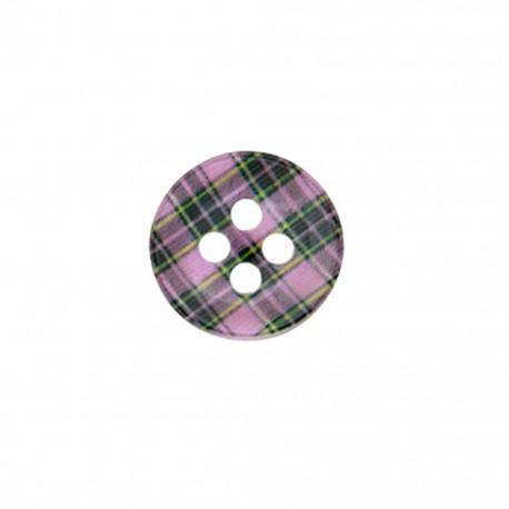 Bouton polyester Joli tartan - rose
