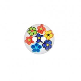 Bouton polyester Confetti floral - blanc