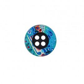 Bouton polyester Maya - bleu