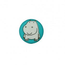 Bouton polyester Petit hippo- vert pin