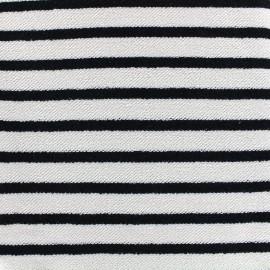 Tissu sweat boucle Marinière - noir x 10cm