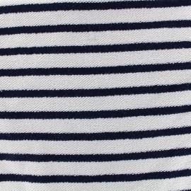 Tissu sweat boucle Marinière - marine x 10cm