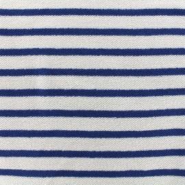 Tissu sweat boucle Marinière - bleu x 10cm