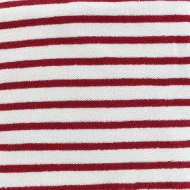Tissu sweat boucle Marinière - rouge x 10cm