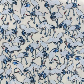 Cotton fabric Grues du Japon - cream x 10cm