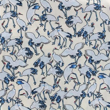 Cotton fabric Grues du Japon - cream x 10cm