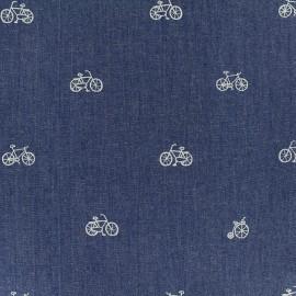 Tissu Jeans fluide Bike - bleu x 10cm