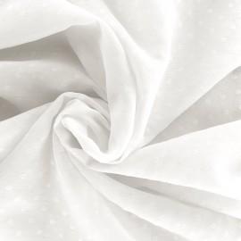 Tissu mousseline Pois - blanc x 50cm