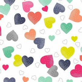 Tissu coton Makower UK Fantasy Hearts - white x 10cm