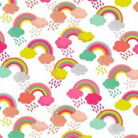 Tissu coton Makower UK Fantasy Rainbow - white x 10cm