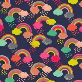 Tissu coton Makower UK Fantasy Rainbow - blue x 10cm