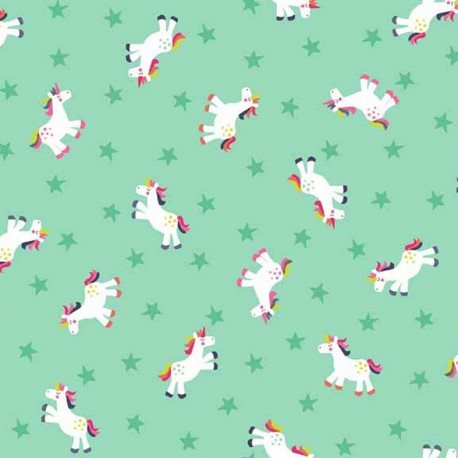 Makower UK cotton fabric Fantasy Unicorn - turquoise x 10cm
