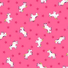 Tissu coton Makower UK Fantasy Unicorn - pink x 10cm