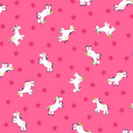 Makower UK cotton fabric Fantasy Unicorn - pink x 10cm