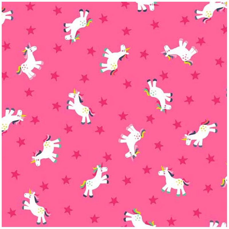 makower uk cotton fabric fantasy unicorn pink x 10cm