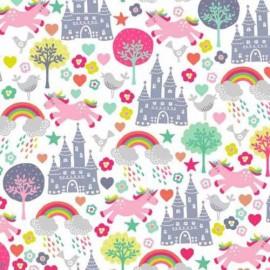 Tissu coton Makower UK Fantasy Scenic - white x 10cm