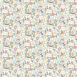 Tissu coton Makower UK Galaxy numbers - white x 10cm
