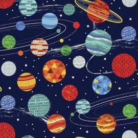 Tissu coton Makower UK Galaxy Planets - white x 10cm