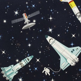 Tissu coton Makower UK Galaxy Rockets - blue x 10cm