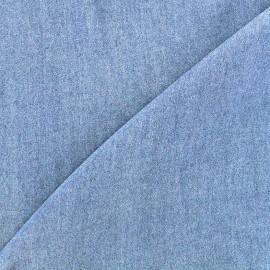 Tissu viscose chambray denim - bleu clair x 10cm