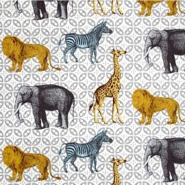 Tissu Animal bazaar - stone x 24cm