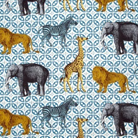 Tissu Animal bazaar - azur x 24cm