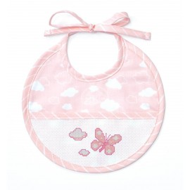 Joli nuage birth bib to embroider - pink