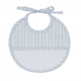 Petites Rayures birth bib to embroider - blue