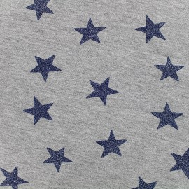 Tissu sweat léger Etoile Glitter - marine x 10cm