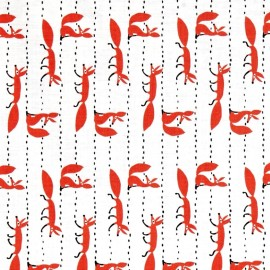 ♥ Coupon 50 cm X 110 cm ♥ Tissu Foxy Fellas - white