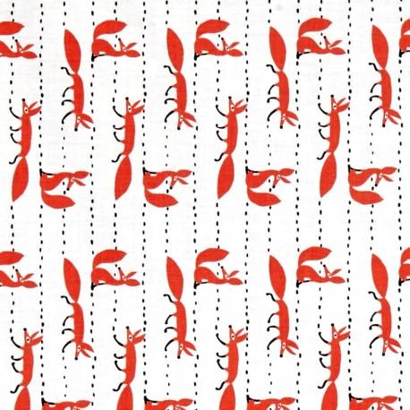Tissu Foxy Fellas - white x 10cm