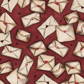 Tissu Gorjuss Letters from the heart Envelopes - cranberry x 10 cm